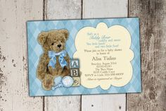 Teddy Bear Baby Shower Invitation  Old Fashioned  by Its4Keeps