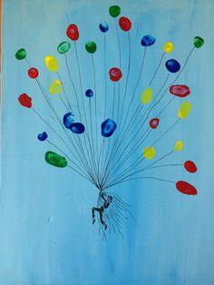 Geschenk für eine Kollegin - die Luftballons sind Fingerabdrücke der Kinder - auf Leinwand