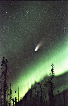 Hale-Bopp Comet above the Northern Lights.... Alaska