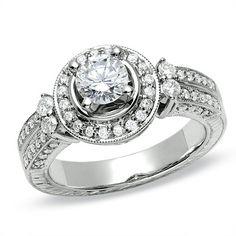 1 CT. Diamond Framed Engagement Ring in 14K White Gold