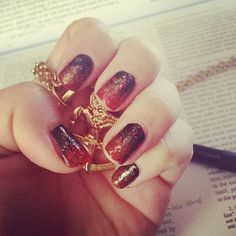 Catching Fire nail art inspiration. See more ideas when you click!