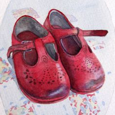 Worn Red Baby Shoes 4x6 fine art print of by AnneRackleyShop