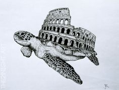 Rare Unique Animals by: The21Night  -Turticilum  ►https://www.behance.net/the21night   #Illustration #Art #turtle #Drawing #Surrealism #Colisium #Rome #Animals #Arquitecture