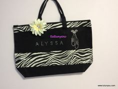 Zebra Dance Bag with Flower Accent by Tutunyou on Etsy, $30.00