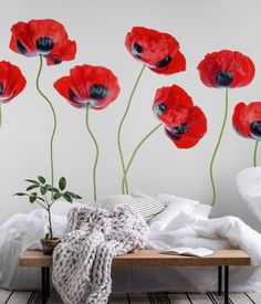 Ladybird Poppies wall mural from happywall Flower Mural, Flower Wall, Fire Bowls, Wallpaper S, Order Prints, Ladybug, Wall Murals, Outdoor Gardens, Poppy