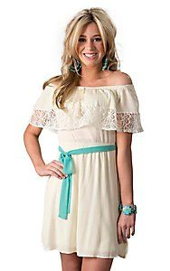 Flying Tomato Women's Ivory Off The Shoulder Peasant Dress