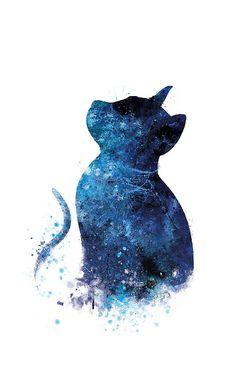 Blue Cat #blue #cat #art #print #painting #iphone #cases #skins #phone #tech