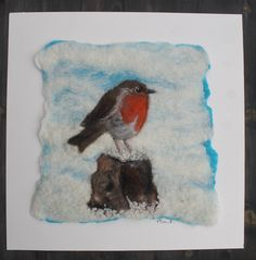 Cute felted robin picture, mounted ready to frame by GardenGalleryDerbys on Etsy