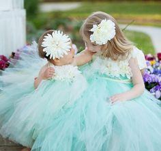 Flower Girl Tutu Dress Set. | ❤ Aqua ❤