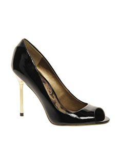 Sam Edelman Reagan Black Patent Peep Toe Court Shoes