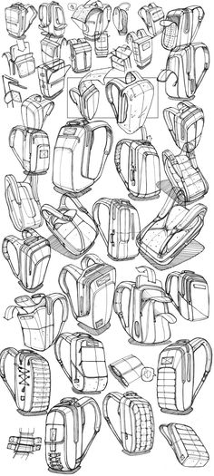 Designing a bag for the urban commuter. Cool Sketches, Drawing Sketches, Drawings, Drawing Bag, Sketching, Design Reference, Drawing Reference, Sketch Inspiration, Design Inspiration