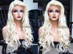 Blonde Human Hair Blend LACE FRONT Wig // Platinum Blonde Wavy