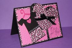 Girlie card made with Paisley Cricut cartridge and My Pink Stamper stamps