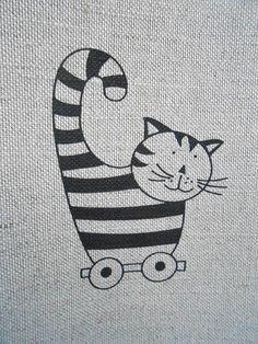 Cat Towel Linen Towel Tea Towel Kitten Towel Hand by ViViCreative