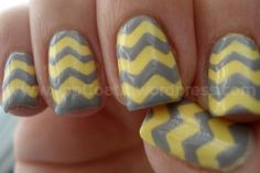yellow and grey chevron nails! chevron nail tutorial.