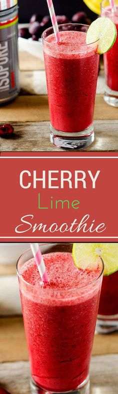 This Dairy Free Cherry Lime Smoothie is a healthy way to fuel your workout that won't drag you down. It is so delicious you will want to drink it every day! via Wendy Polisi Smoothie Detox Plan, Smoothie Proteine, Cherry Smoothie, Yummy Smoothies, Yummy Drinks, Healthy Drinks, Smoothie Recipes, Healthy Snacks, Healthy Recipes