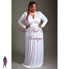 New Plus Size Long Dress with V Neck Long Sleeves and Double Side Slits in White available at http://www.chicandcurvy.com/dresses/product/9128-new-plus-size-long-dress-with-v-neck-long-sleeves-and-double-side-splits-in-white-1x-2x-3x Model: Janna Plus Model MUA: Make Me Blush - Makeup By Jillian Bianca Hair: Hair by Ashelee Photography: Smash Photo Studio