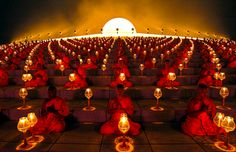Thousands of Buddhist monks chanted during a lantern lighting to celebrate Makha Bucha day, which commemorates Buddha's first sermon on the essence of Buddhism.