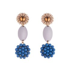 We love these fabulous statement earrings for their feminine, wearable colors and lightweight swing. Cream enamel and brass clip-on earrings c. 1960 paired with light lavender oval enamelled elements c.1950 and hand-beaded Japanese electric blue glass stones c. 1940. A team favorite. #lulufrost #vintage