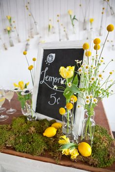 Use WeddingWire for everything you loved about Project Wedding, and so much more. Find new wedding ideas, book wedding vendors, and talk to real couples. Lemon Centerpieces, Inexpensive Centerpieces, Lemonade Bar, Lemonade Stands, Lemon Party, Mellow Yellow, Bright Yellow, Yellow Black, Yellow Wedding