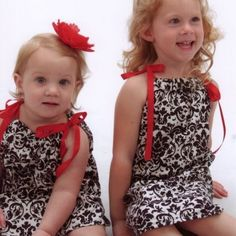 Little Girls Dresses- Black Damask, Sizes Newborn-3T..Baby Dresses | sassysweetbaby - Clothing on ArtFire