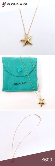 """Tiffany & Co. Elsa Peretti Starfish Pendant 18k gold Elsa Peretti starfish pendant by Tiffany & Co. Purchased directly from T&Co store. Measures 16"""" in length; pendant is 12mm. Comes with original Tiffany blue suede pouch. Tiffany & Co. Jewelry Necklaces"""