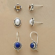 SKY LIGHTS EARRING TRIO--A set of three gemstone stud earrings, with lapis for the night sky, citrines for the sun and cultured pearls for the moon. Gems are set by hand in sterling silver with posts and locking French wires.