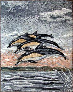 AN069 Marble Mosaic Dophin Marine Life Tile