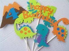 Dinosaurio cumpleaños fiesta Toppers/centros por JudeBugsBabySweets