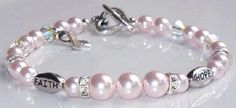 Swarovski crystal rosaline pearl Awareness Bracelet - Project #102 on the Idea Page. Makes a beautiful and treasured gift.