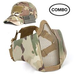 2171a3f199b530 SPIKELAB Foldable Airsoft Half Face Metal Mesh Mask and Tactical Hat Set  with US Flag Patch, Adjustable Military Tactical Mask and Cap for Airsoft  in ...