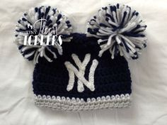 I want a pink one!! crocheted New York Yankees Hat Cap by TinyTippyToppers on Etsy, $26.00