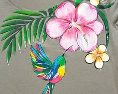 Hand painted Floral T-shirt with: Jungle. Size M is ready to ship! Indian Designers, T Shirt Painting, Rooster, Hand Painted, Unique Jewelry, Handmade Gifts, Shirts, Animals, Vintage