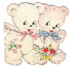 Vintage Flocked Bears Birthday Hallmark Greeting Card   eBay