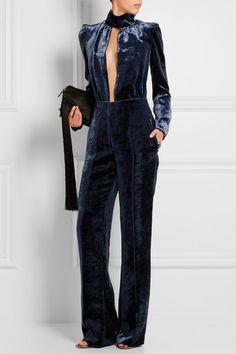 Storm-blue velvet Concealed snap, hook and zip fastening at front 79% viscose, 21% silk Dry clean Designer color: Dark Blue
