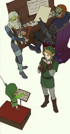 "Ganondorf at the piano, Sheik on the harp, Link on the ocarina, and Wind Waker's Link directing with the Wind Waker - The Legend of Zelda: Ocarina of Time; fan art ""Triforce Troupe"""