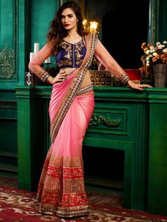 Buy Red and Orange Satin Saree with Embroidery Work online at Best Price for Women - SAAA16313 - Saree.com