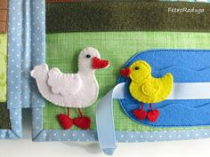 """Developmental book """"Farm"""" A duck swims in the pond on the bank stands beside his mother-duck, and they can change, duckling stand up, and my mother to swim in the pond (the tape is sewn Velcro).  (@)"""