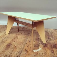 Plywood kitchen table with mint laminate top by Kerf Design. www.kerfdesign.com kerfdesign's Instagram photo