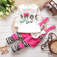 Toddler Baby Girl Cotton Spring Clothes Set,stripe Cartoon Rabbit Pattern T-shirt + Pants Sets,fashion Girl Suit Baby Clothes #Affiliate