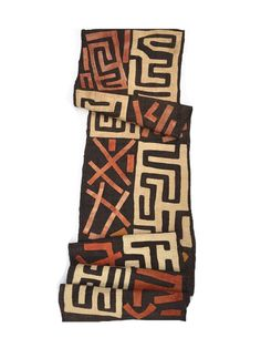 Kuba Cloth, Vintage, Black with natural colors, Hand sewn appliqués by MorrisseyFabric on Etsy