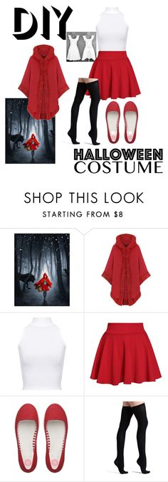 """Diy little red riding hood costume"" by makeuphobbyist ❤ liked on Polyvore featuring WearAll, FitFlop, Commando, halloweencostume and DIYHalloween"