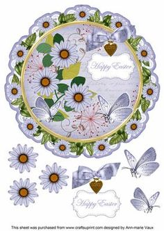 Blue Daisy Happy Easter 8in Doily Decoupage Topper on Craftsuprint - Add To Basket!