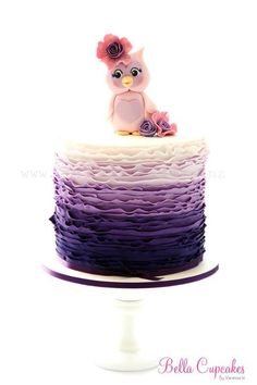 Gorgeous owl and purple ombre ruffle cake
