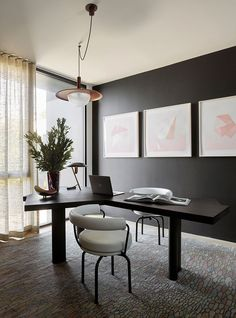 Home Office Ideas This Modern Home Office Has A Black Accent Wall That Complements The Desk While Light Colored Artwork And Floor To Ceiling Windows Helps To Keep The Room Bright Homeofficeideas Blackwall