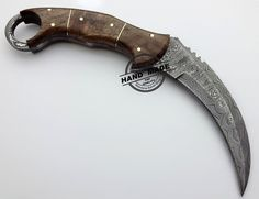Full Damascus Karambit Hunting Double Edge Knife Custom Handmade Damascus Steel Hunting Karambit Knife Full Damascus Knife With Rose Wood Handle Leather Sheaths 1708