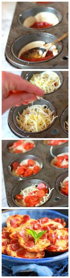 Mini Tortilla-Crust Pizzas:  Preheat oven to  400 degrees;  empty 15 oz pizza sauce can into a bowl; use empty can to cut rounds in tortillas; place rounds in muffin tins; top with 1 Tbs sauce; top that with shred. mozzarella; then add 5 mini pepperonis on top;  bake 10-12 mins.