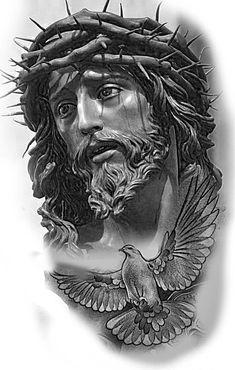 Jesus Christ Drawing, Jesus Christ Painting, Jesus Drawings, Tattoo Drawings, Jesus Christ Statue, Christus Tattoo, Religous Tattoo, Religion Tattoos, Heaven Tattoos