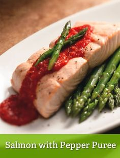 Salmon with Pepper Puree {lean}  http://www.youfit.tsfl.com  http://www.facebook.com/healthconfessions