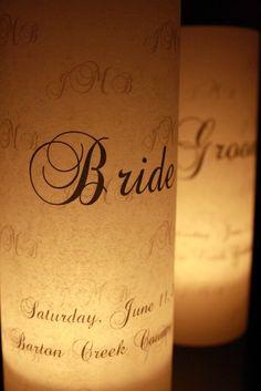 Monogram Bride and Groom Place Card Luminaries  by thepaperynook, $6.95